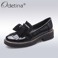Odetina 2017 New Fashion Women Tassel Oxfords Shoes Slip On Platform Brogues Bow Flat Casual Shoes