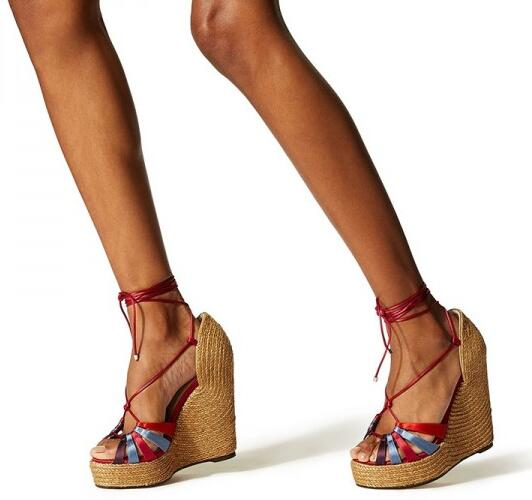 fe7db36811e Carpaton Red Ankle Strap Platform Wedge Heels Sandals Sexy Peep Toe Rope  Braided Super High Gladiator Shoes Lace-up Sandals
