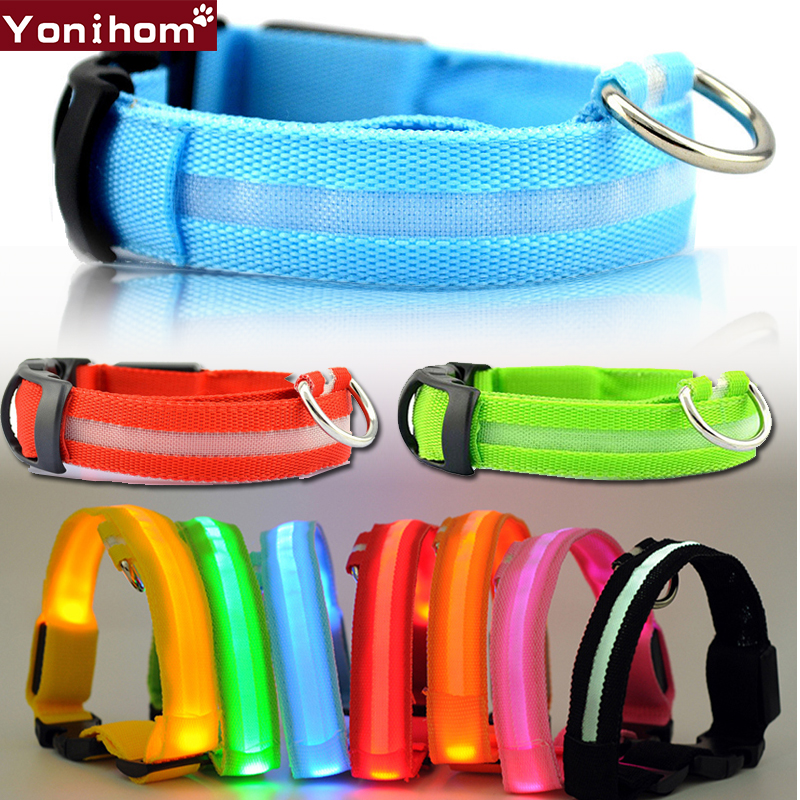 Dog Collar Nylon LED Glowing Pet Dog Collar Luminous Adjustable Collar Perro For Small Dog Cat Puppy LED Light Night Safety XS