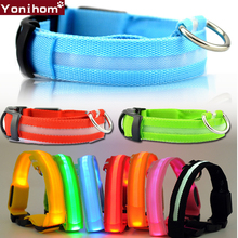 Dog Collar Nylon LED Glowing Pet Luminous Adjustable Perro for Small Cat Puppy Light Night Safety XS