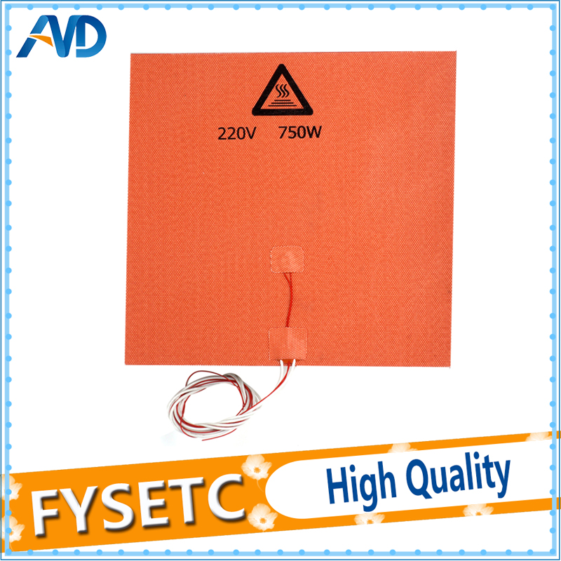 USA Material! 1PC 300X300mm Silicone Heatbed Pad 220V 750W With NTC 100K Thermistor Sensor & 3M Adhesive For 3D Printer Parts 10pcs lot 3d printer ntc thermistor 100 k accuracy 1