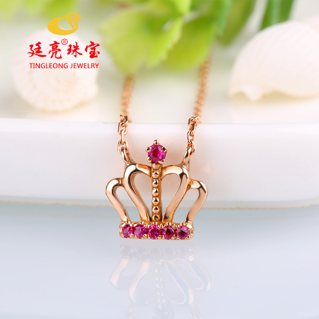 7319ea65dad Robira Real Gold Charms Necklace 14K Gold Pendant Necklace For Women Ruby  Necklace Imperial Crown Design Jewelry