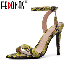 FEDONAS Summer New Sexy Sandals Women Fashion Concise Pumps PU Leather Buckle Strap Sandals Prom Party Shoes Woman Basic Sandals(China)
