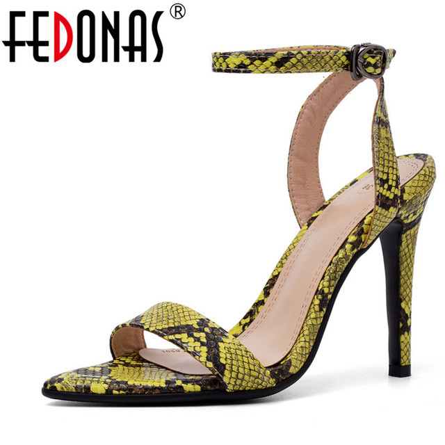 FEDONAS Summer New Sexy Sandals Women Fashion Concise Pumps PU Leather Buckle Strap Sandals Prom Party Shoes Woman Basic Sandals