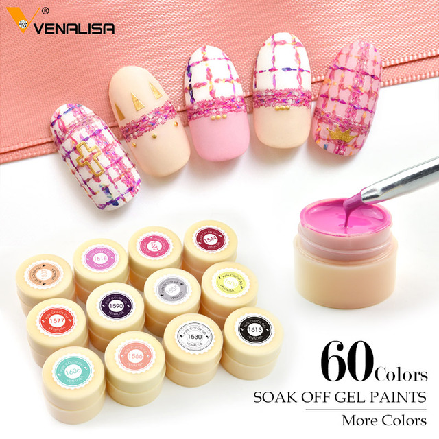 Venalisa 5 ml לבן צנצנת טהור צבע אמנות ציפורן ג 'ל צבע ג' ל טיפים DIY קישוט CANNI מפעל מחיר ציור LED & UV ג 'ל צבע