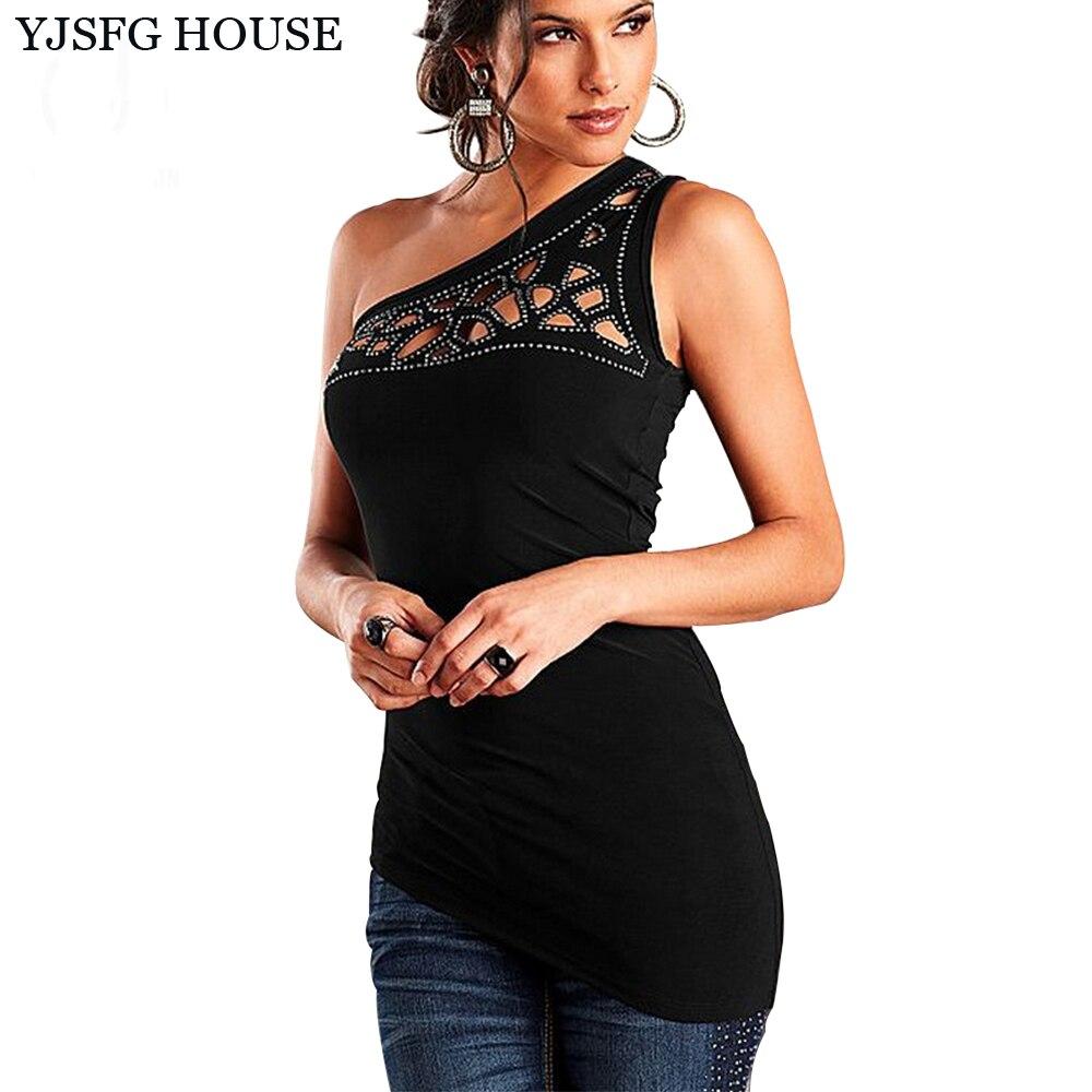 Buy Yjsfg House One Shoulder Black Tshirt