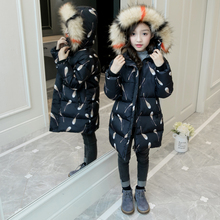 цена на 2018 Fur Hooded Jacket for Girls Kids Snow Wear Parka Thick Winter Jacket for Children Winter Outerwear Coat 4 6 8 10 12 Years
