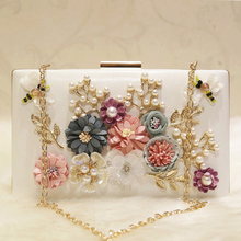 Ladies Wedding Party Bridal Evening Clutch Purses Handmade Flower Female Small Beaded Wedding Chain Shoulder Bag Bee Banquet цены