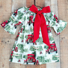INS Hotsale Baby Christmas Dress Princess Girls Cute Xmas Tree Cotton Printed for D0408