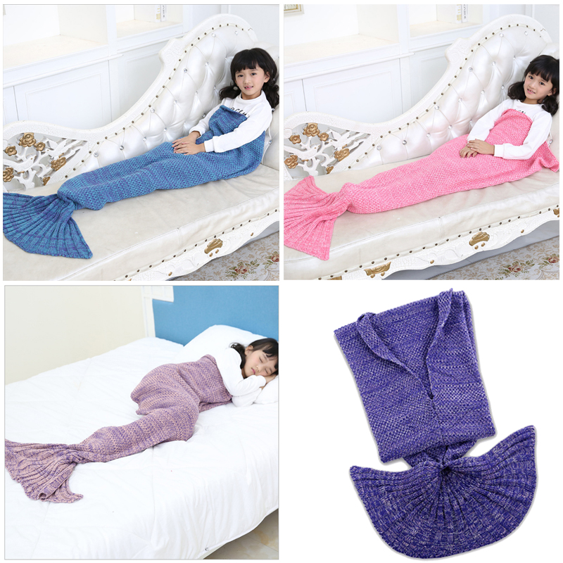 2017 Hot Baby Swaddle Blanket Mermaid Tail Blanket 90*50 CM Hand Knitting Fleece Baby Blanket 9 Colors Available Soft Flokati