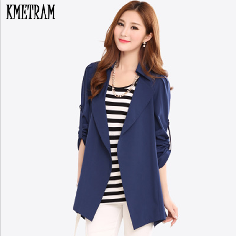 KMETRAM Slim OL Middle Long SimplySolid Plus Size   Trench   Coat Spring Summer Open Stitch Women's Windbreaker Abrigo Mujer HH955