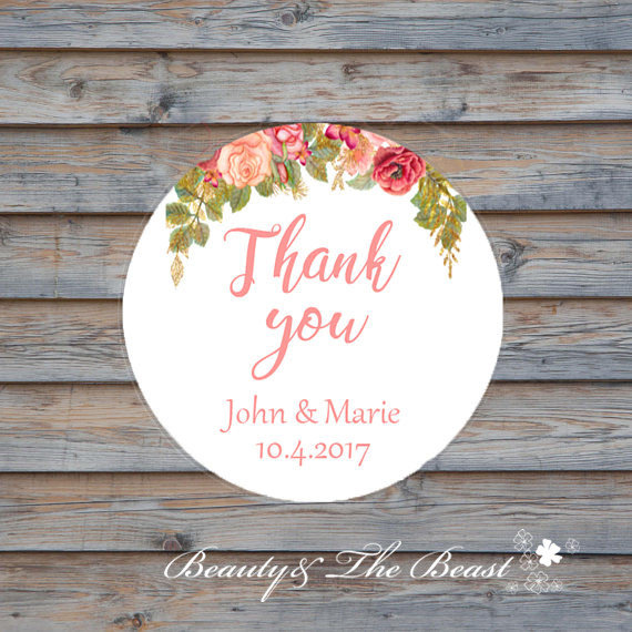 Customized Personalized Wedding Thank You Sticker Favors Tags Candy Box Bottle Birthday Party In From Home