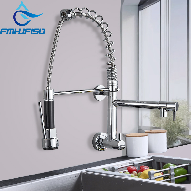 FMHJFISD Chrome Nickel Gold ORB Rubber Kitchen Faucet Wall Mounted Mixer Tap 360 Degree Rotation Pull