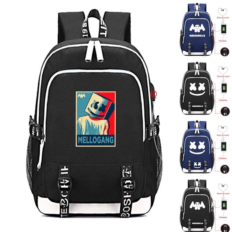 2019 Heißer Amerikanischen Geheimnis Dj Marshmello Helm Kinder Der Schule Tasche Usb Laptop Rucksack Für Mädchen Jungen Jugendliche Große Bookbag