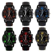 New Men Quartz Analog Watch Silicone Strap Band Round Dial S