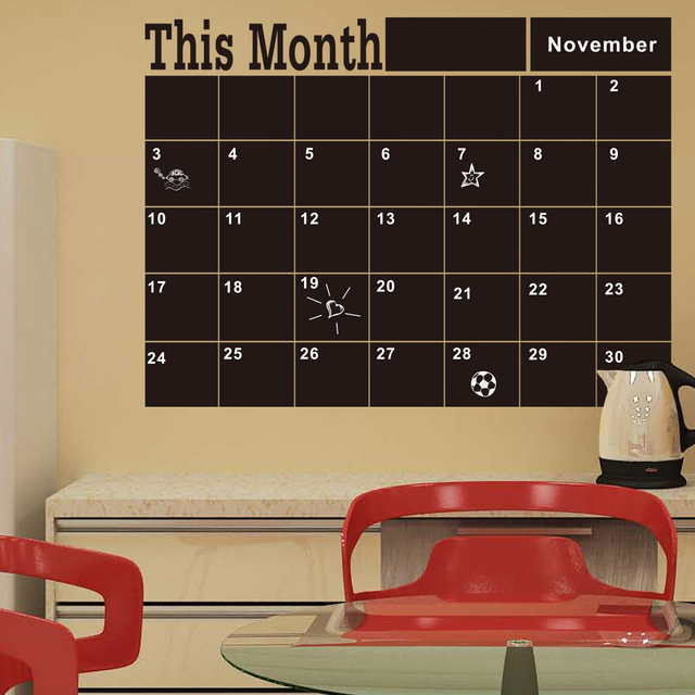 Monthly Chalkboard Board Blackboard Removable Wall Sticke For Vinilos Paredes Month Plan Calendar Chalkboard DIY Home Decor