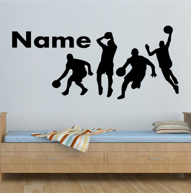 Boys Room Decal Custom Personalized Name Sports Play Basketball Wall Sticker  Home Decor Vinyl Murals Kids