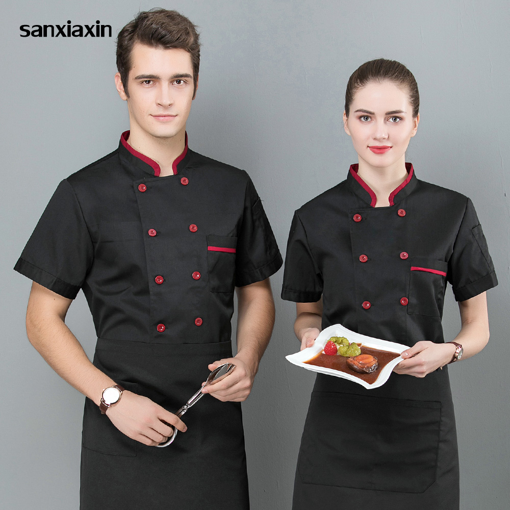 Unisex Food Service Chef Uniform Restaurant Hotel Catering Bakery Cotton Blended Cloth Chef Jackets 3 Colors M-3XL Waitress Coat