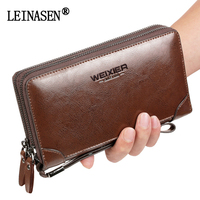 LEINASEN Brand Men Vintage Multifunctional Large Capacity Leather Purse Casual Long Male Clutch Men S Business
