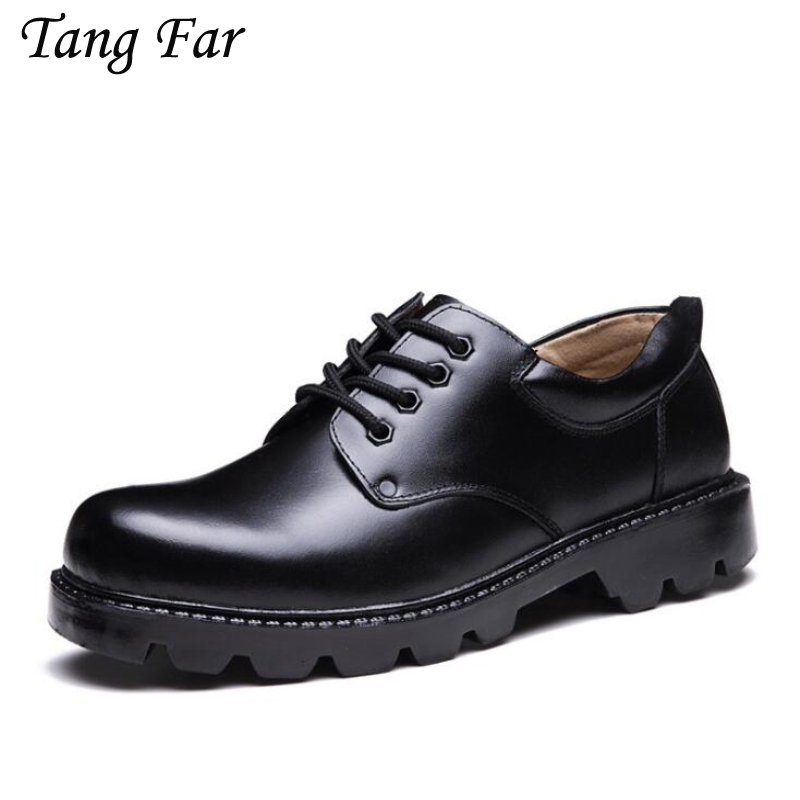Large Size 48-39 Men Leather Work Shoes High Quality Male Military Shoes Thick Sole Safety Flat Shoes For Man france tigergrip waterproof work safety shoes woman and man soft sole rubber kitchen sea food shop non slip chef shoes cover
