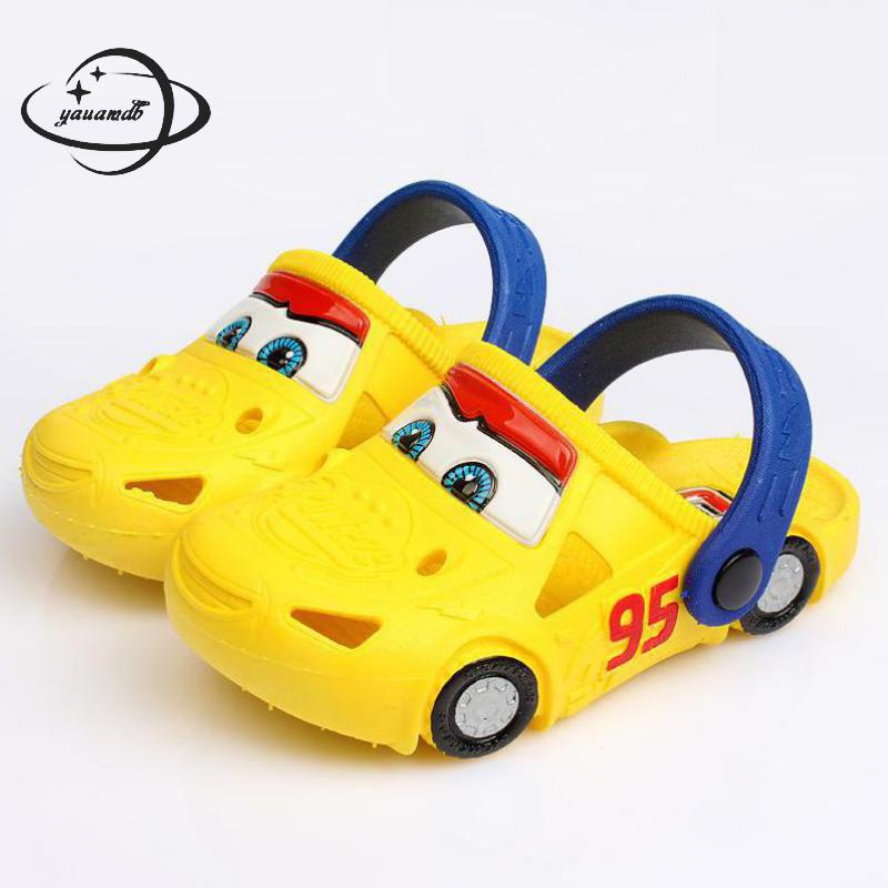 YAUAMDB kids mules & clogs 2018 summer EVA boys flat sandals cartoon car breathable baby beach hollow toddler children shoes y25