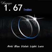 haoyu 1.67 Anti Blue Violet Light Lenses myopia reading Prescription Office Computer Worker smartphone Eyewear glasses lens