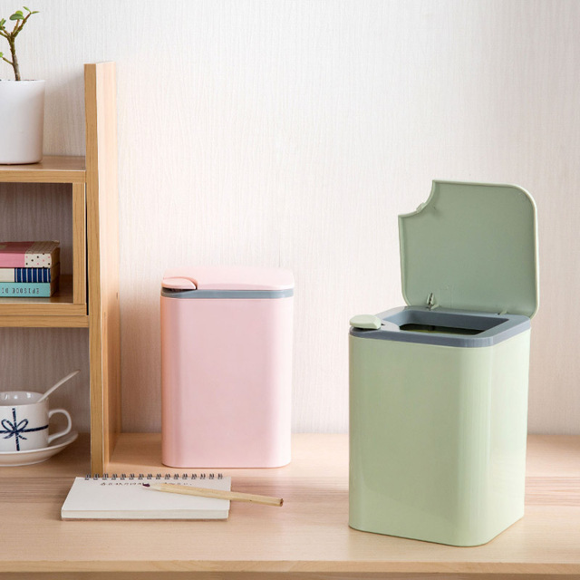 Push Style Desktop Trash Cans Household Plastic Small Baskets Living Room Office Desk Mini Garbage