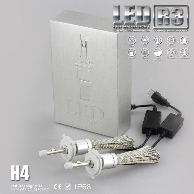 Super Bright R3 9600lm H4 Hi Lo H/L Beam Xenon White 6000K Car LED Headlight Conversion Kit Cre e XHP-50 4800lm Bulb