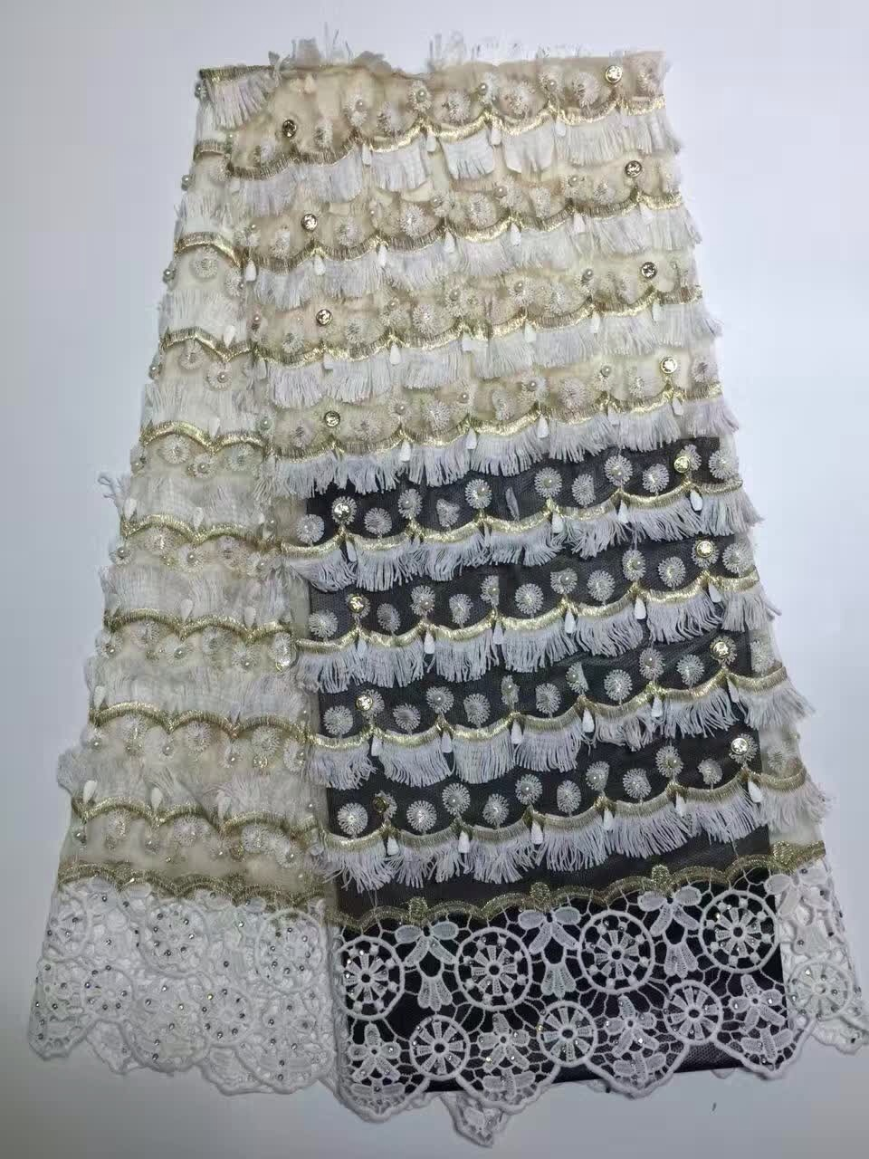 Novelty 3d French Lace With Sequins Nd Applique 5 Yards/lot 2017 Latest Design African Lace Fabric For Wedding Dress Kd103 Wide Selection; Lace