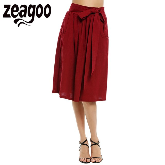 1c2769b91638 Zeagoo Solid Skirt Fashion Casual Pockets A-Line Midi Skirt Spring Summer  Lace Up Elegant