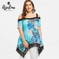 a9b403b60f971 AZULINA Plus Size Handkerchief Flower Cold Shoulder T-Shirt Women Square  Neck Short Sleeve Lace