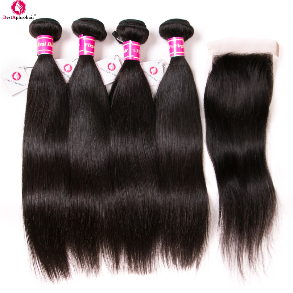 Peruvian Straight Hair Bundles With Closure 4 Bundles Human Hair Bundles With Lace Closure Free Part Aphro Non Remy Hair Weave