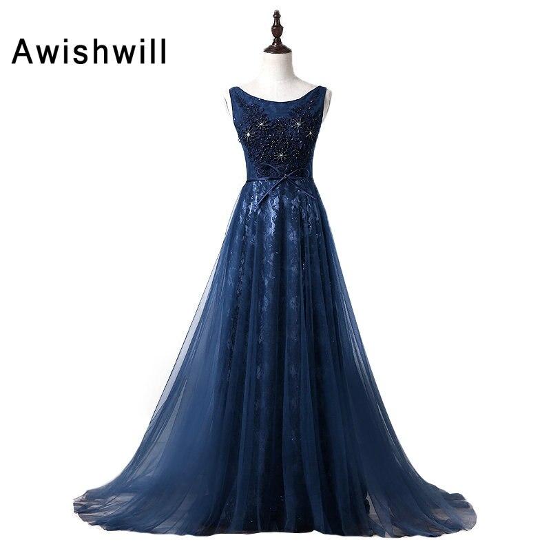 Robe de soirée personnalisée femmes longue Robe de soirée encolure dégagée perles dentelle et Tulle bleu marine Robe de soirée pour fiançailles