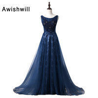 Customized Robe Soiree Women Long Evening Dress Scoop Neckline Beadings Lace and Tulle Navy Blue Party Dress For Engagement