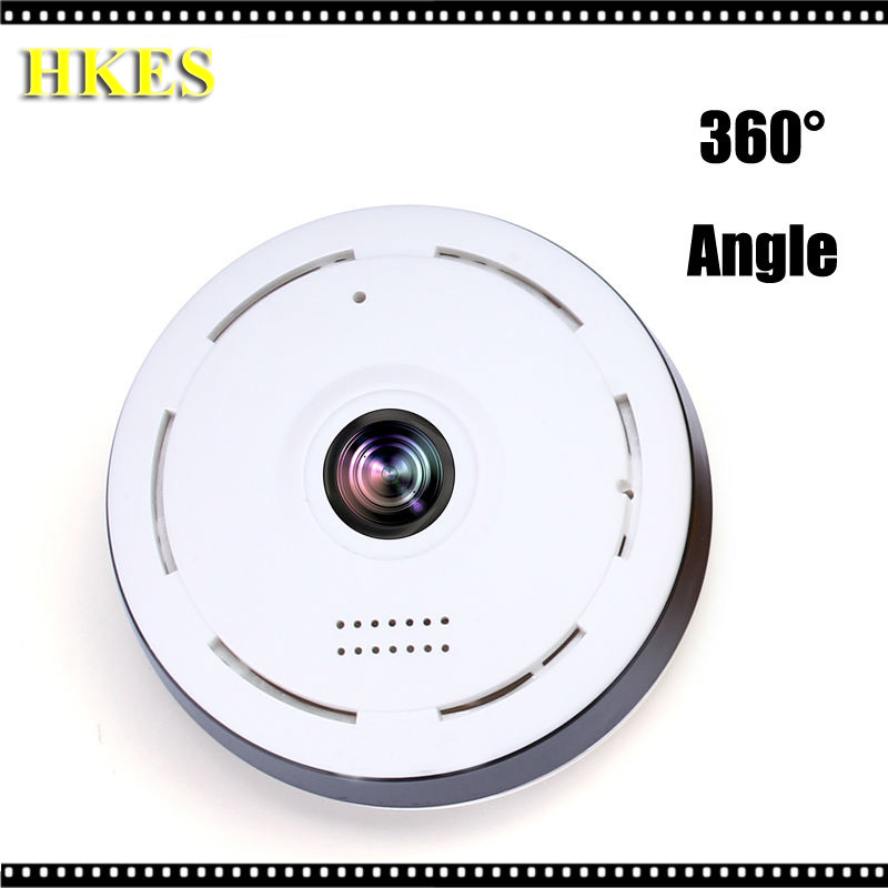 HKES  360 Degree Panoramic Camera IP 960P 1.3MP Home Security IP Camera Wifi Two Way Audio WebCam SD Card Slot Digital home ip wifi camera hd 5mp two way audio activity alert yunsye smart ip wifi webcam 360 degree panoramic camera ir cut