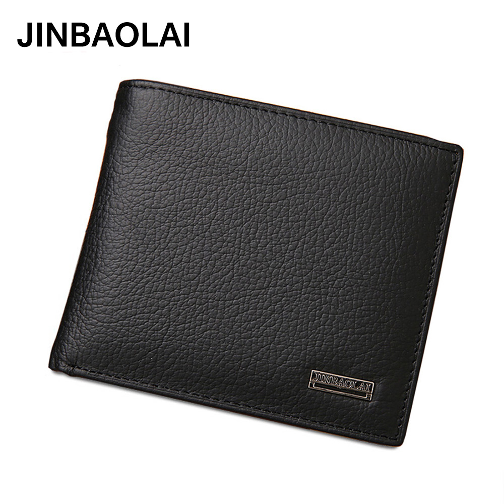 JINBAOLAI Genuine Leather Men Wallets Short Design ID Card Holder Waterproof Black Male Wallet Casual Top Quality Men Purse