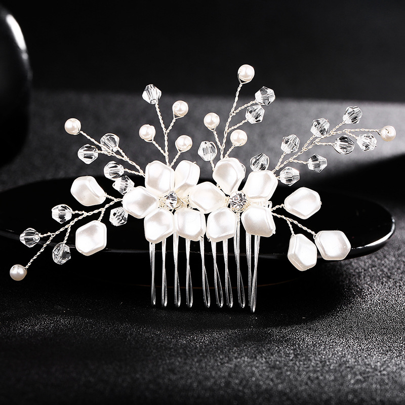 Wedding Charm Bridal Jewellery Rhinestone Crystal Flower Silver Hair Comb ClipS*