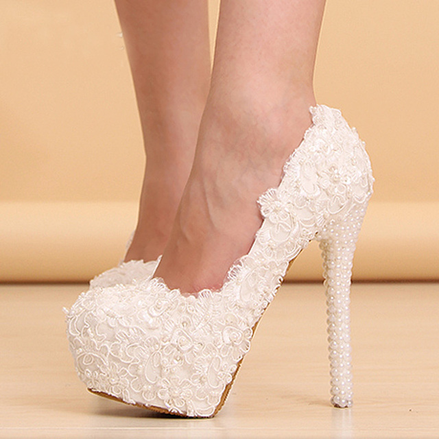 Sexy white flowers lace platform high heels lace pearls wedding sexy white flowers lace platform high heels lace pearls wedding shoes luxury high heeled party mightylinksfo