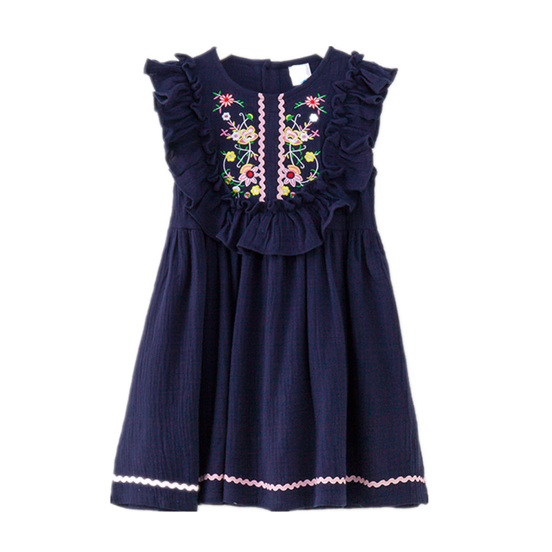 4 to 14 years kids & teenager girls summer embroidery floral ruffle cotton linen party dresses children fashion flare dress