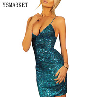 2017 Summer Party Gold Sequin Mini Dress Women Glittering Sleeveless Blue Red Spaghetti Strap V Neck