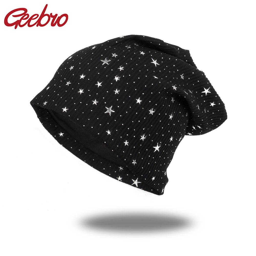 Geebro Fashion Women's Star Beanies Hat Spring Cotton Slouchy Beanie For Women Ladies Comfortable Skullies Hats Bonnets Cap