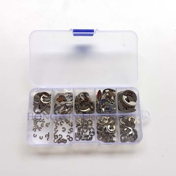 200pcs/set Stainless Steel Circlip Sack Retaine E-type Washer SS304 Buckle-shaped Split Washers M1.5/M2/M3/M4/M5/M6/M7/M8/M9/M10