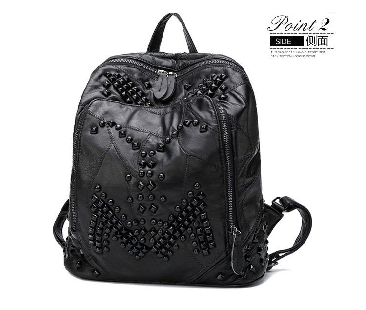 Sheepskin women backpack Fashion designer rivets decoration womens travel bags Casual patchwork genuine leather shoulder bag