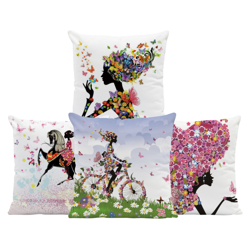 Girl Butterfly Cushion Flower Bicycle Pillows Pink Blue Cute Home Decorativa Pillowslip Covers Small Velvet Custom Your Picture