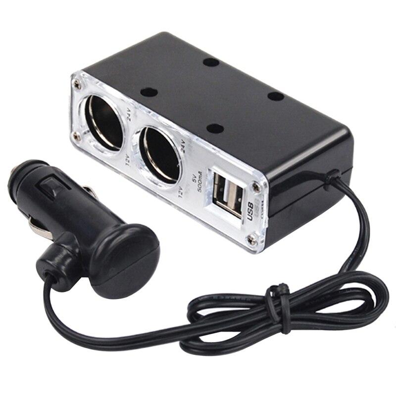 High Quality 2 Way Car Cigarette Lighter Power Socket USB Port Charger Adapter Black Car Electrics Car Accessories