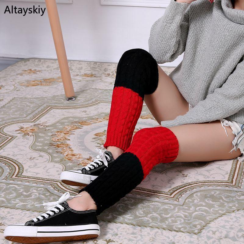 Knee Sleeve Women Plus Velvet Thicker Winter Leisure Fashion Womens Soft Warm Striped Simple Sweet Kawaii  Lovely Ladies Chic