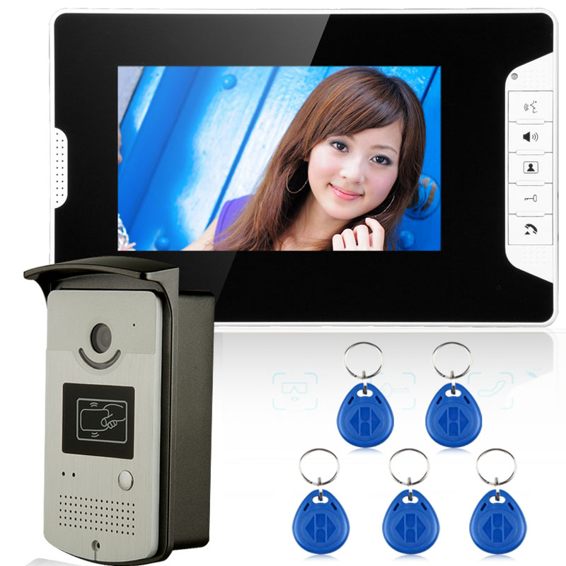 FREE SHIPPING 7 Video Intercom Door Phone System With 1 White Monitor 1 RFID Card Reader