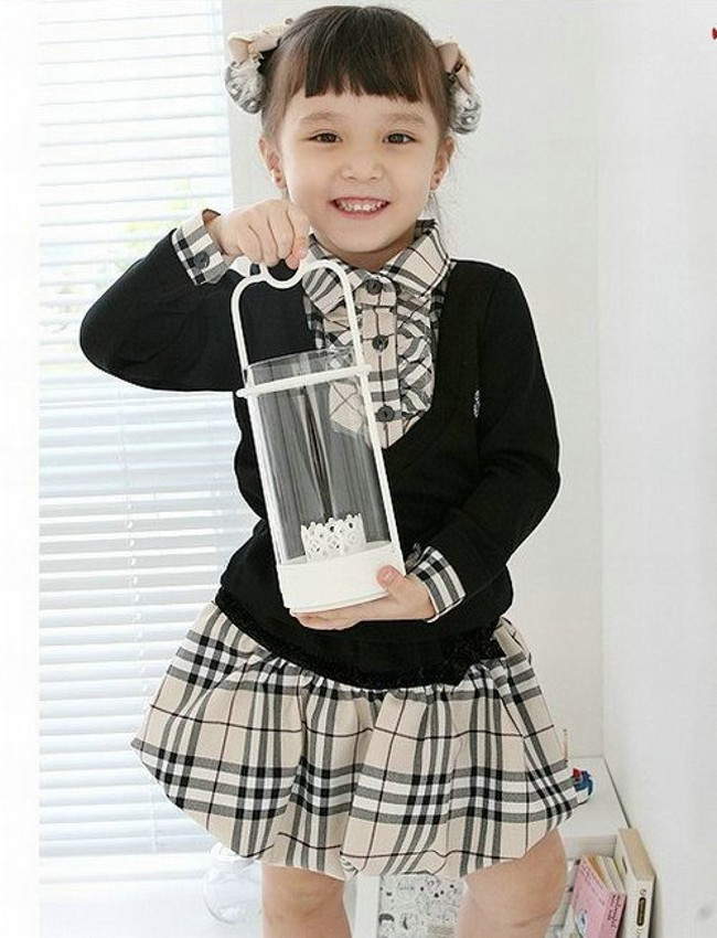 EMS DHL Free shipping girls Kids Clothing France Style Checker Checked T shirt Skirt 2pc Set Children Suit outfit Plaid Suit dhl ems contec vga tpvga pc t e l s sg no 9984a isa pull from ipc pt m100 pc k c3 d9