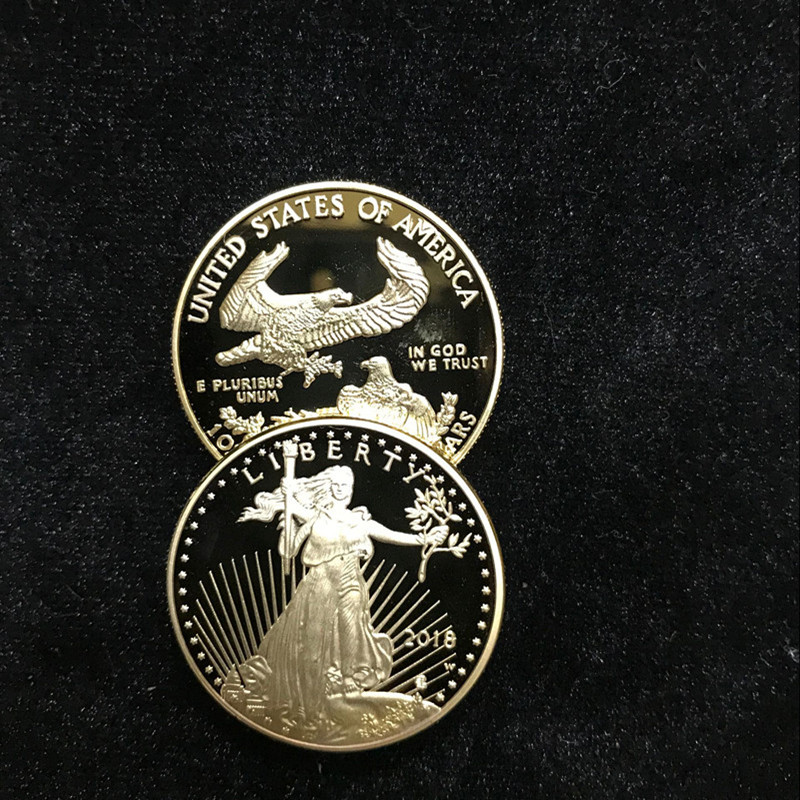 100 pz Non magnetico La Libertà di 2018 Liberty souvenir distintivo 1 oz 24 k oro reale placcato distintivo USA aquila 32.6mm replica moneta-in Monete commemorative da Casa e giardino su  Gruppo 3