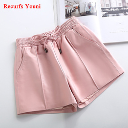 2020 Winter Female Genuine Leather Elastic High Waist Shorts Women Black/Pink Trousers Joker Divided Short Pants Plus Large Size